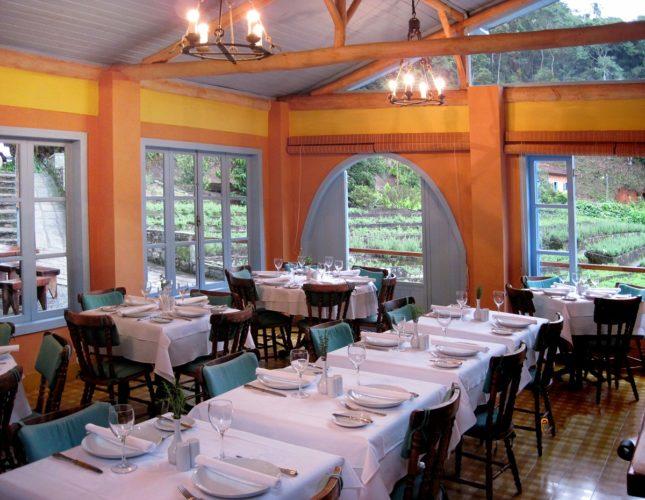 Provence, uma pousada irresistível na serra fluminense. Interior do restaurante com os canteiros de ervas ao fundo.