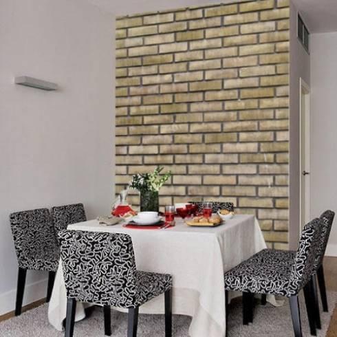 Tijolinho aparente na decoração, usando papel de parede .
