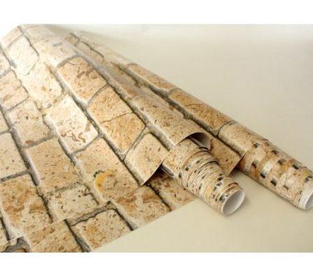 tijolinho aparente na decoração, usando papel de parede.