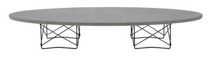 Mesa de centro ELIPTICA assinada por Charles Eames com base em aço pintado de preto e tampo em cimento, da arquivo contemporaneo