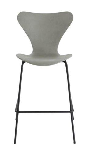 Banqueta SERIE 7 assinada por Arne Jacobsen com estrutura em aço pintado de preto e assento em cimento no arquivo contemporaneo