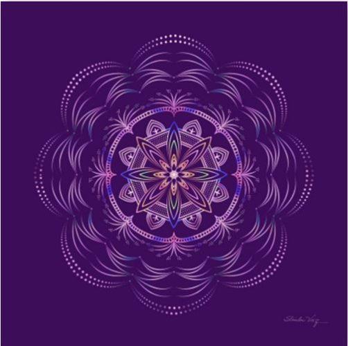 Quadro Mandala, por Shirley Vaz, encontrado na UrbanArts - roxo