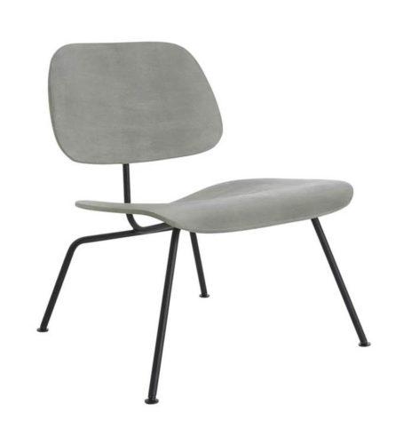 Poltrona PLYWOOD assinada por Charles e Ray Eames com estrutura em aço pintado de preto e assento e encosto em cimento