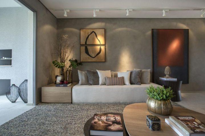 Sala projetada por Carlos Rossi com cimento queimado