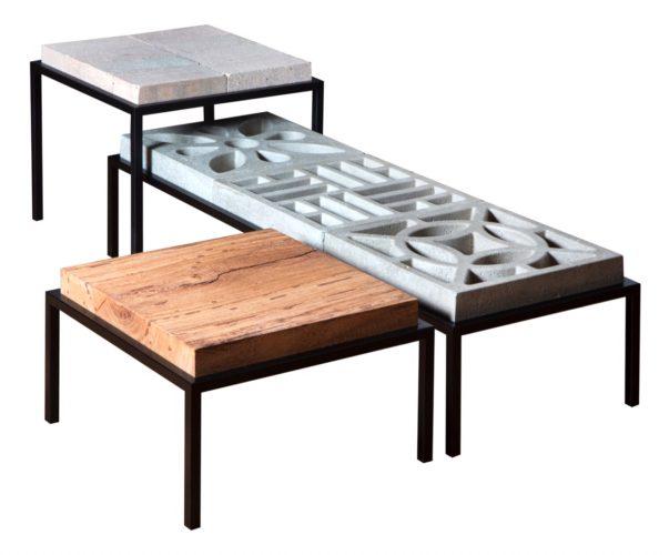 Criações by Ivan Rezende à venda na Semana Design Rio. linha de mesas Construação