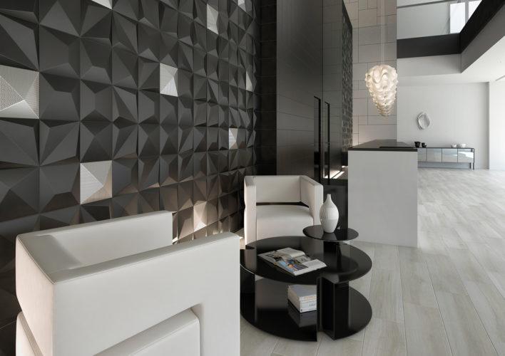Linhas de revestimentos apostam em design oriental e clean. Linha Shape 3d