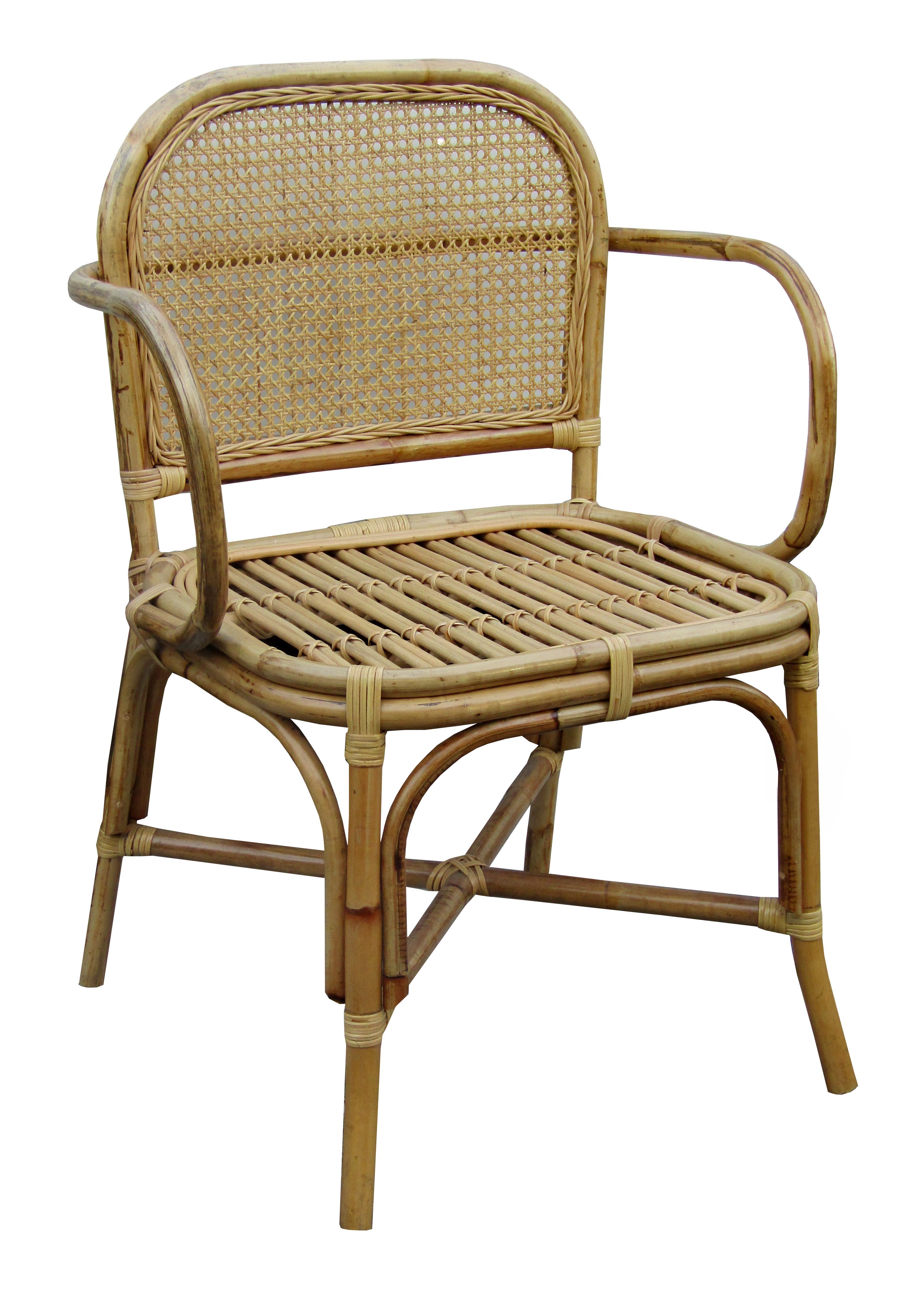 cadeira em bambu com encosto em palhinha por 1.600 reais na RUG HOME: