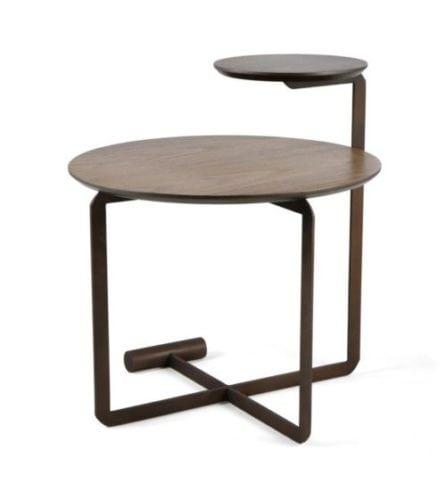 Mesa Lateral da Carbono Design. Mesa lateral redonda com duas alturas de tampo.
