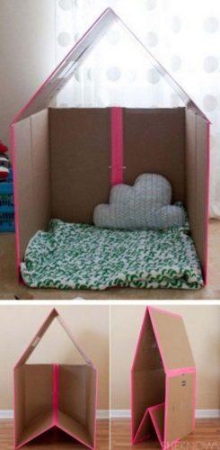 Brinquedoteca DIY, decoração faça você mesma uma casinha para as crianças brincarem.