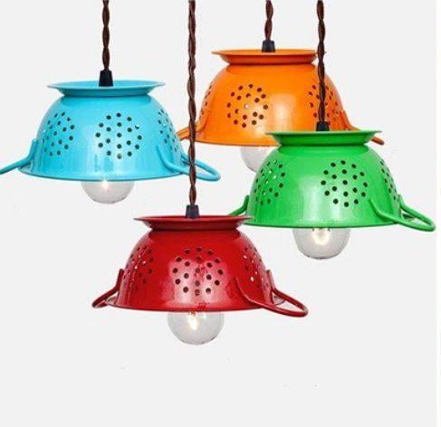 Luminárias de escorredor de macarrao para ideias criativas e charmosas para a cozinha