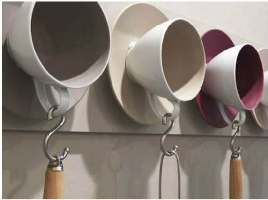 Xicaras cabides para ideias criativas e charmosas para a cozinha