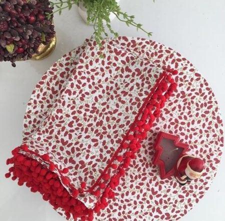 Conjunto de sousplat, guardanapo e porta-guardanapo para decorar e mesa de Natal.