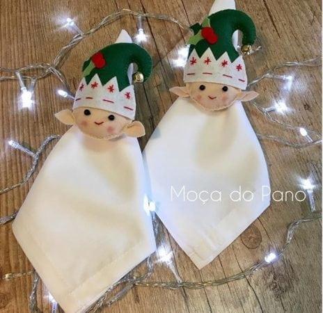 Porta-guardanapo de duende, para decorar a mesa de Natal