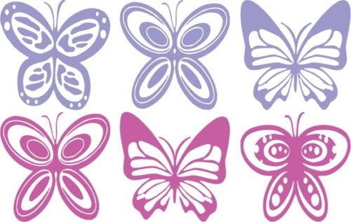 Adesivos de borboletas , nas cores azul e rosa. Da loja virtual Elo7