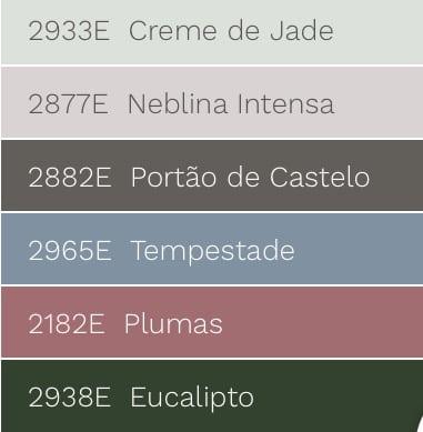 Combinações de tonalidades com a cor de 2018 eleita pela Eucatex Tintas, verde Eucalipto.