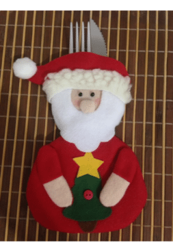 Porta-talher de papai noel para decorar a mesa de Natal.