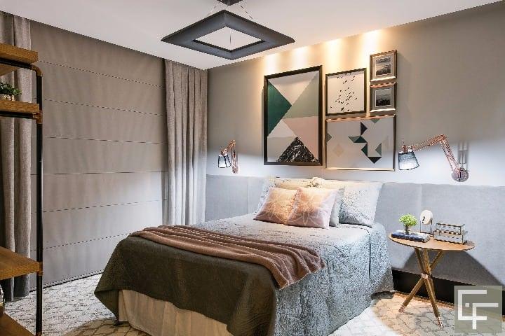 Suite casal do projeto de Elayne Felix no apartamento em Mato Grosso do Sul
