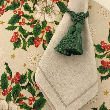 Sousplat e porta-guardanapo verde , composição para decorrar a mesa de Natal