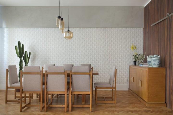 Sala de jantar da MRG com revestimento da linha cubic da Eliane Revestimentos