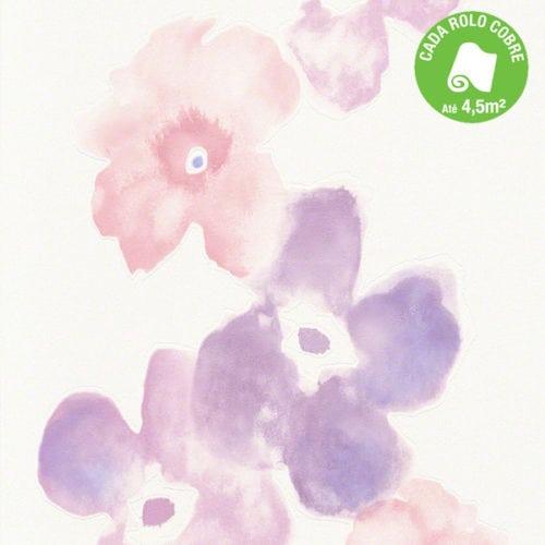 Papel de parede com flores lilás em aquarela.
