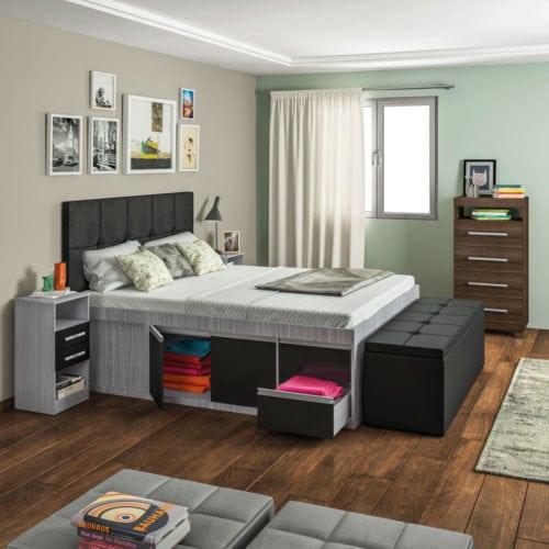 quarto com armários organizados