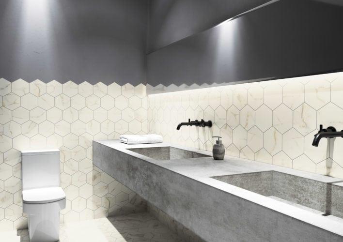 Que tal utilizar o porcelanato marmorizado no formato hexagonal? A Coleção Opera da Portinari traz peças nos formatos 17,5x17,5 que ficam lindas para dar destaque a um ambiente