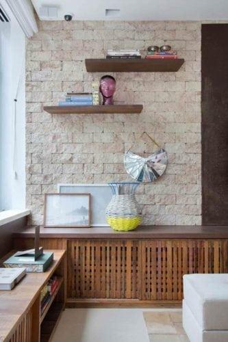Detalhe da sala de tv projetada por Bianca da Hora