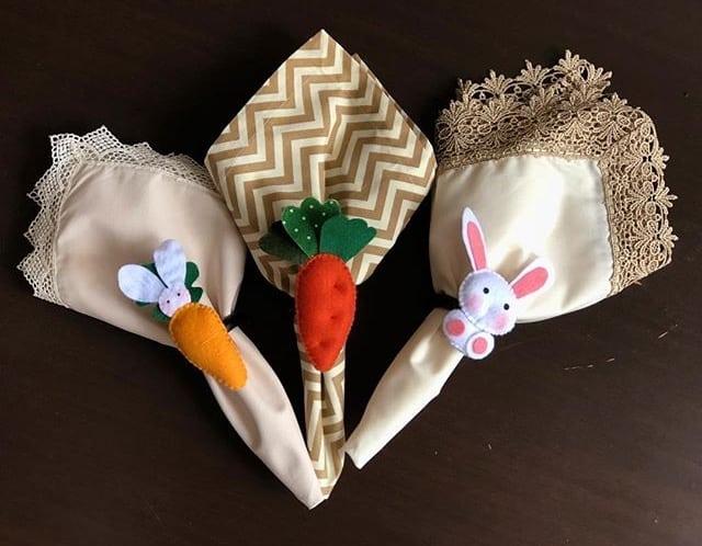 Inspiração e super dicas para a sua decoração de Páscoa. Porta guardanapo de cenoura e coelhinho