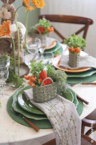 Inspiração e super dicas para a sua decoração de Páscoa.Mesa de almoço de Páscoa