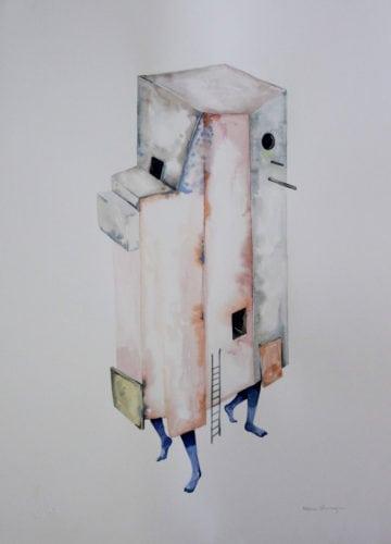 A artista plastica Fabiana Queiroga e a coleção Nômade. Aquarelas