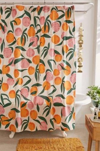 cortina de banheiro de pessegos