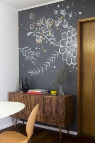 Inspirações para decorar usando lousa.. Na sala de jantar, parede do aparador em lousa com desenhos super personalizados.