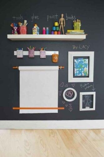 Inspirações para decorar usando lousa. Parede do quarto das crianças para desenhar na lousa.