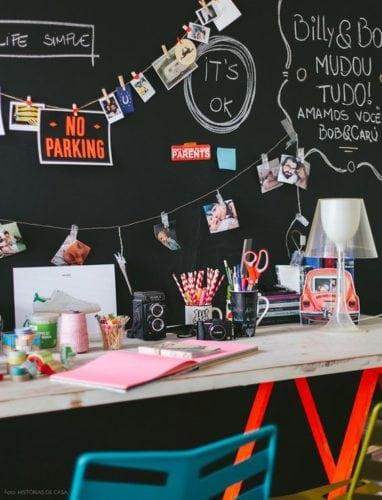 Inspirações para decorar usando lousa. Parede do escritório, recados e desenhos na parede em lousa.