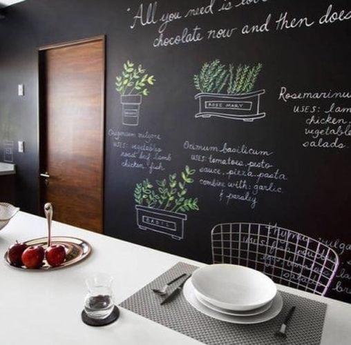 Inspirações para decorar usando lousa. Na parede inteira em uma cozinha, desenhos de ervas para decorar.