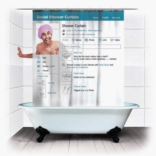 cortinha de banheiro com capa do facebook
