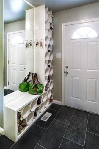 Inspirações para guardar os sapatos ao entrar em casa.