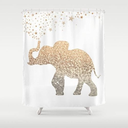 cortina de banheiro com estampa de elefante dourado