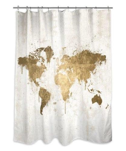 cortina de banheiro com mapa-mundi