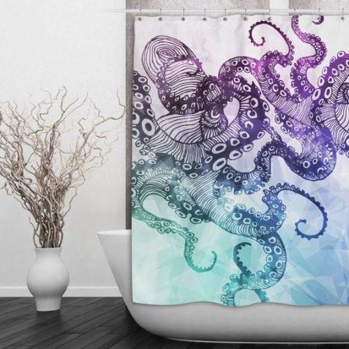 cortina de banheiro com polvos impressos