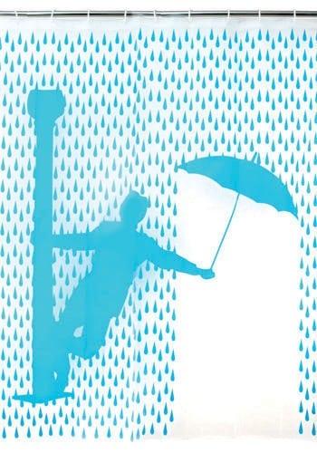 cortina de banheiro com impressão da cena de Singing in the rain