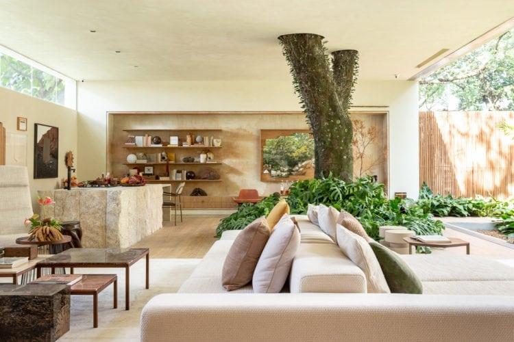 Sala de estar com sofa e tronco de arvore no meio de suite arquitetos para casacor sp 2018 tendencias 2019