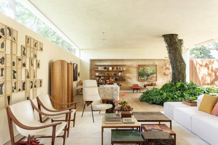 Um imponente Flamboyant incorporado à área de estar junto com móveis de design nacional, na mostra Casa Cor SP. Suite arquitetos.