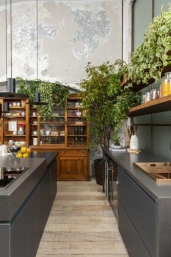 Paisagismo de Clariça Lima para a cozinha matriz da Triart Arquitetura para casa cor sp