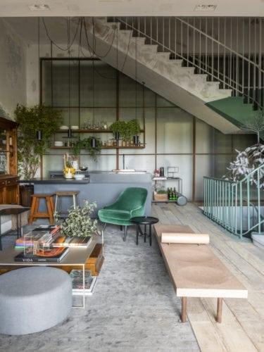 paredes descascadas na cozinha matriz da Triart Arquitetura para casa cor sp