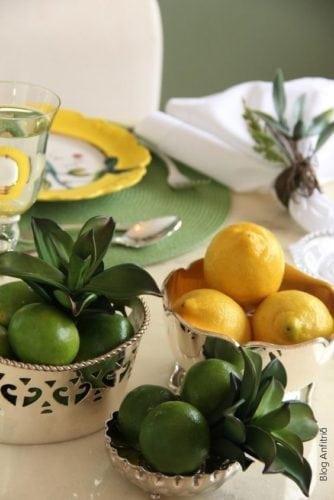 Dicas e inspirações para receber os amigos nos jogos da Copa do Mundo 2018. Centro de mesa usando limão para enfeitar.
