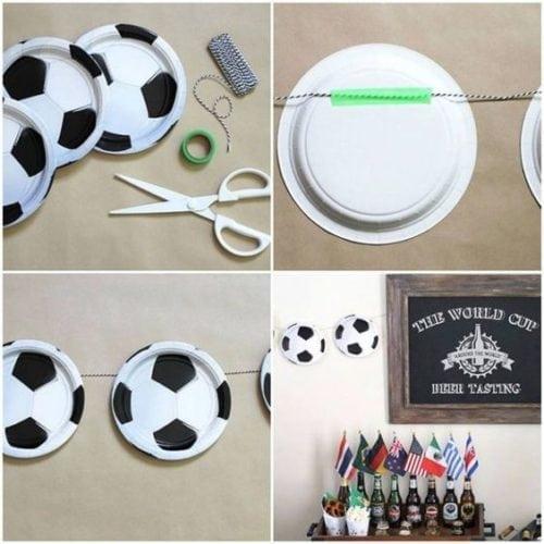 Dicas e inspirações para receber os amigos nos jogos da Copa do Mundo 2018. DIY para enfeitar a parede com pratinhos imitando bola de futebol.