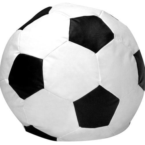 Dicas e inspirações para receber os amigos nos jogos da Copa do Mundo 2018. Puff imitando uma bola de futebol.