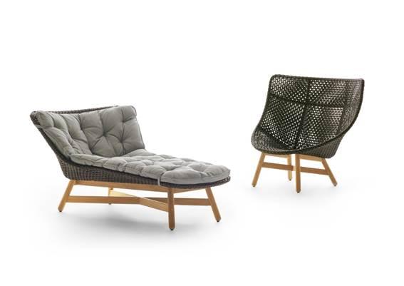 daybed e Wing Chair Mbrace, na cor arabica, assinadas por Sebastian Herkner para a Dedon, na COLLECTANIA