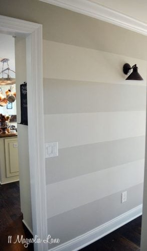Diferença entre a pintura degradê e ombré. Degradê em beige, faixas marcadas com a diferença de tonalidades.